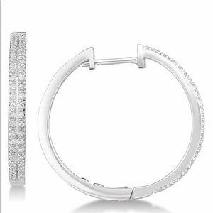Jewelry - 💫 NEW 💫 Diamond Hoop Earrings in Sterling Silver
